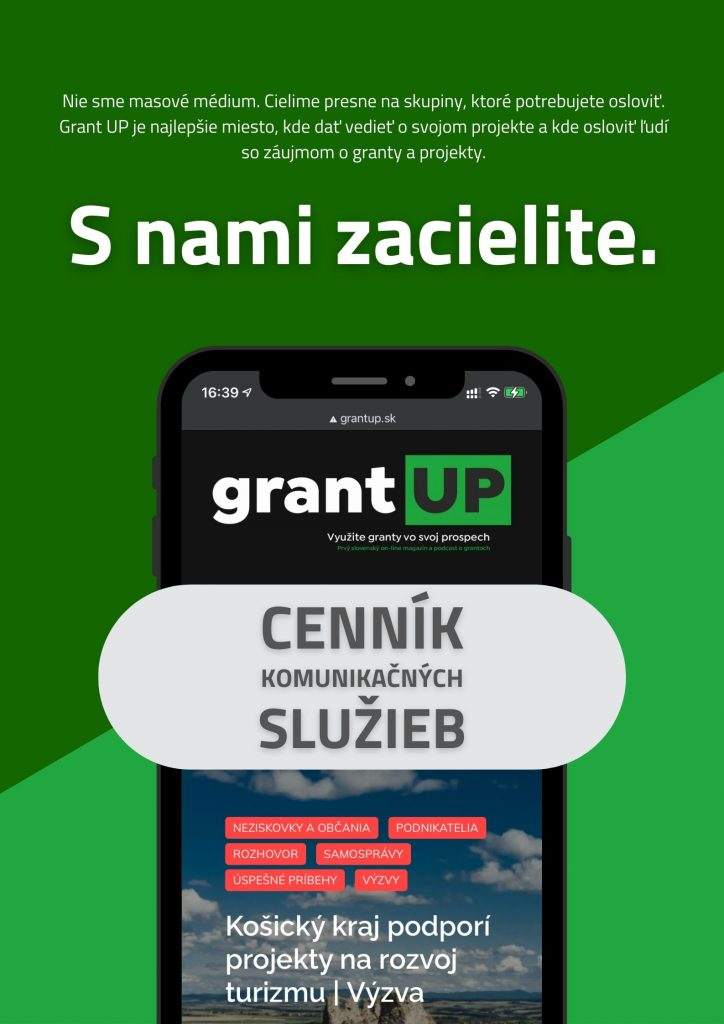 Cenník komunikačných služieb - inzercia grant UP
