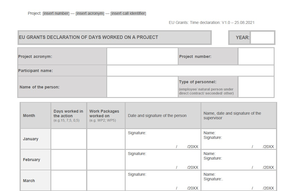 Vzor timesheetu pre projekty Horizont Európa - náhľad